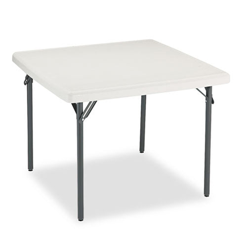 "Indestructible Round Blow Molded Resin Folding Table, 37"" Square x 29""h, Platinum"