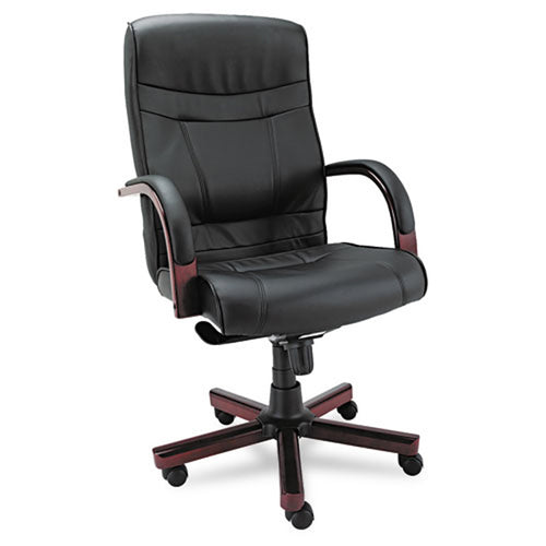 Madaris High-Back Tilt Chair with Wood Trim, Mahogany w/Black Leather