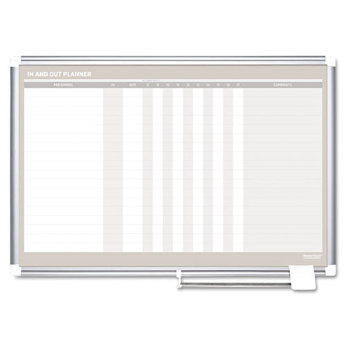 "Magnetic 18-Name In/Out Dry-Erase Board, 36""w x 24""h, Aluminum Frame"