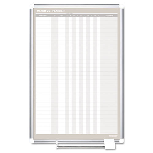 "Magnetic 30-Name In/Out Dry-Erase Board, 24""w x 36""h, Aluminum Frame"