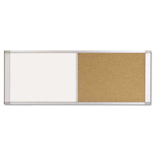 Magnetic Dry-Erase & Cork Bulletin Board Combination, Aluminum Frame