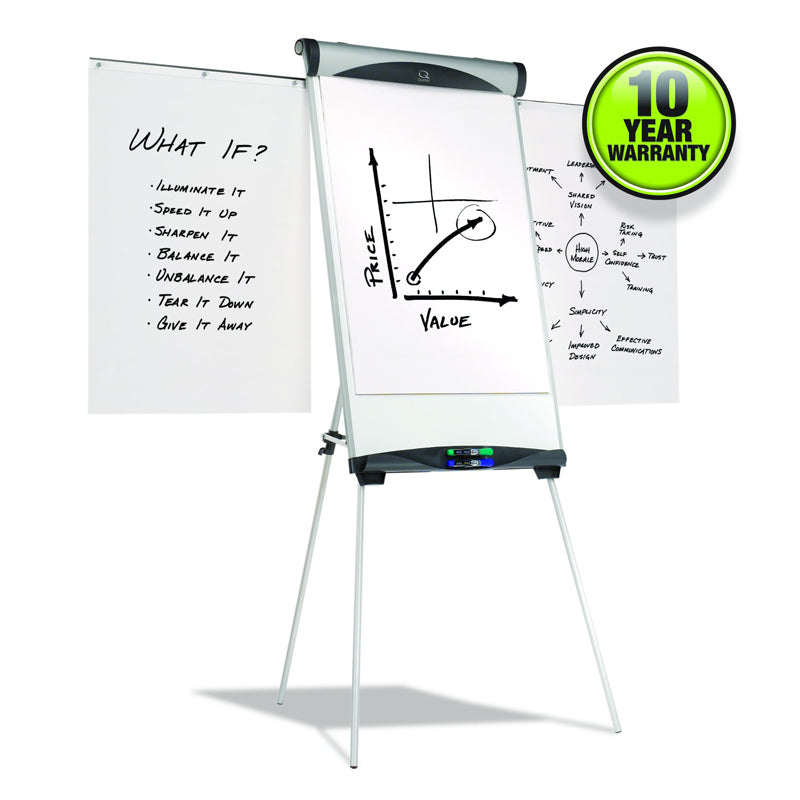 "Magnetic Dry-Erase Easel, 27""w x 39""h, w/ Brushed Silver Frame"