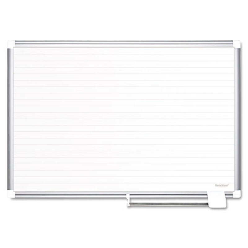 "Magnetic Dry-Erase Planning Board w/ 1 1/2"" Ruled Lines, Aluminum Frame"