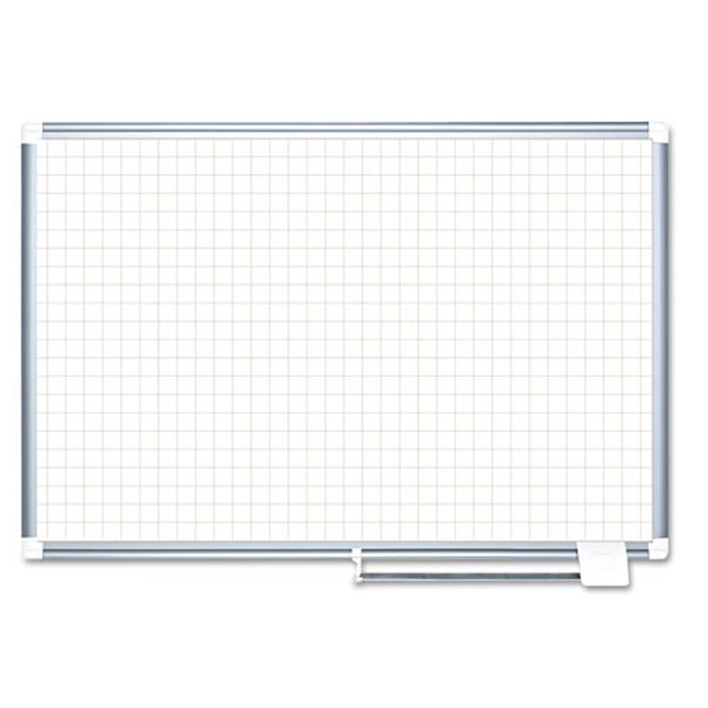"Magnetic Dry-Erase Planning Board w/ 1"" x 1"" Grid, Aluminum Frame"