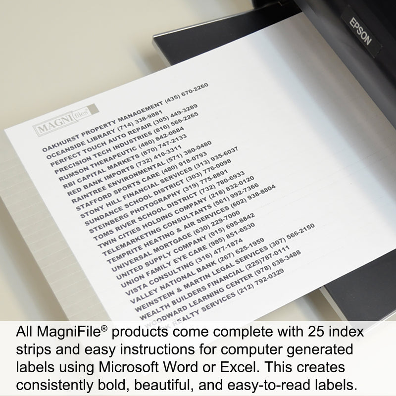 "Ultimate Office MagniFile® Hanging File Folders V-Base, LEGAL Size with 11"" Magnified Indexes that Double the Size of Your File Titles to Find Files FAST. Set of 5 Files w/Black Indexes, 25 Index Strips and AN UNCONDITIONAL LIFETIME GUARANTEE!"