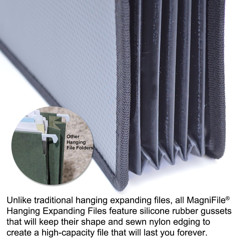"Ultimate Office MagniFile® High-Capacity Hanging File Folders, 5"" Expanding Files With Silicone Rubber Gussets and Sewn Nylon Edges, Letter Size (Set of 2)"