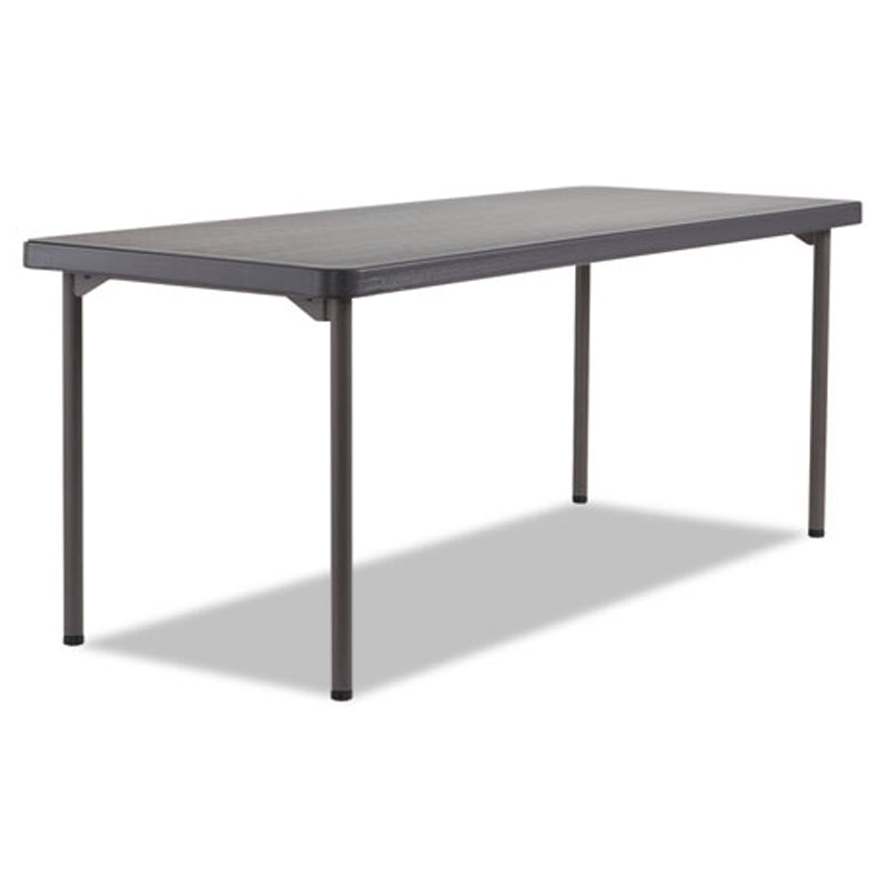 Maxx Legroom Blow Molded Rectangular Folding Table, Graphite