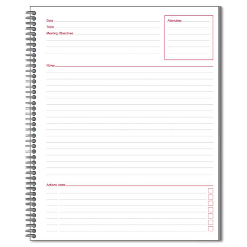 "Meeting Notebook, 8 7/8"" x 11"", Legal Rule, 80 sheets, Black"