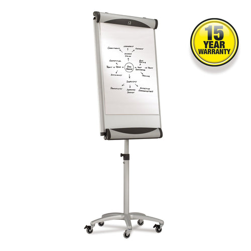 "Mobile Magnetic Dry-Erase Easel, 27""w x 41""h, w/ Brushed Silver Frame"