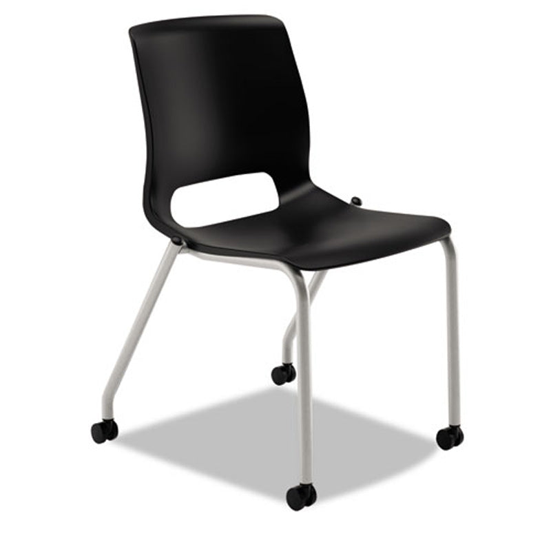 Motivate Stacking Chair with Plastic Seat & Casters, Platinum w/Black (set of 2 chairs)