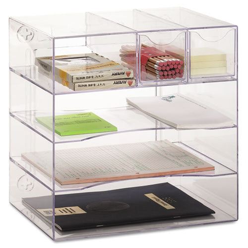 Multi-Function 4-Way Clear Plastic Organizer with Drawers