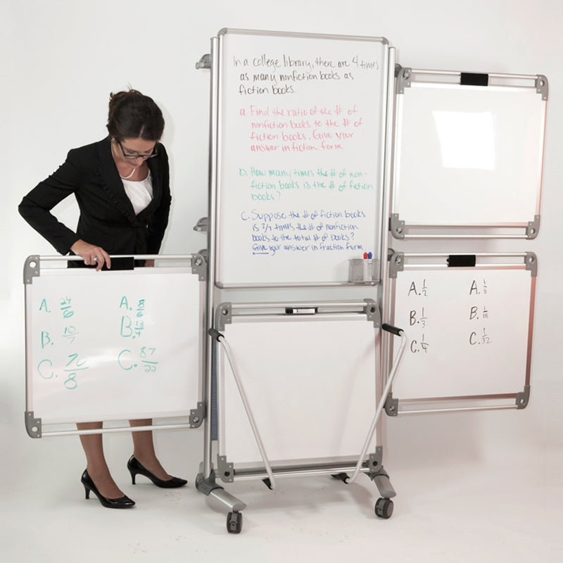 "Nexus 76 1/8"" x 32 5/8"" Easel Plus with 4 Dry-Erase Tablets"