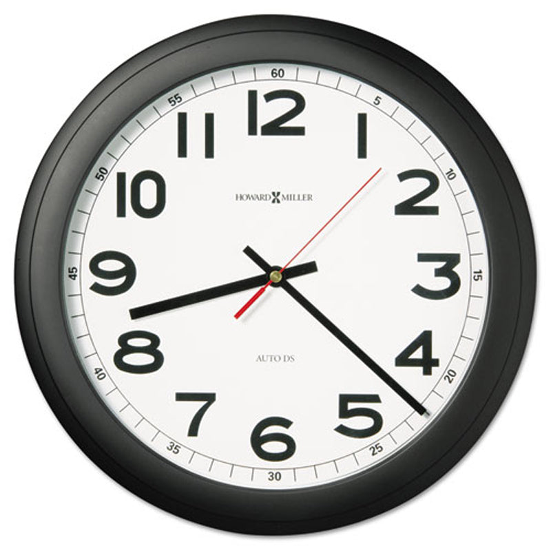 Norcross Auto Daylight Savings Wall Clock, Black
