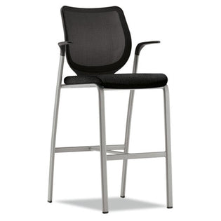 Nucleus Cafe-Height Stool with Stretch M4 Back, Platinum w/Black Back & Black Seat