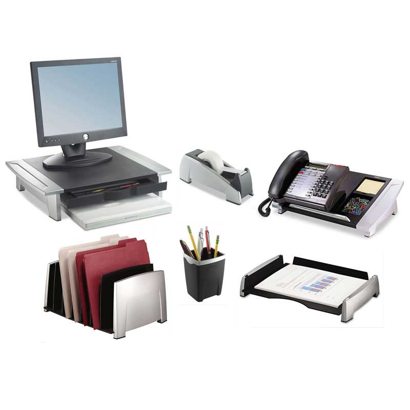 Silver & Black 7-Section Desktop Sorter