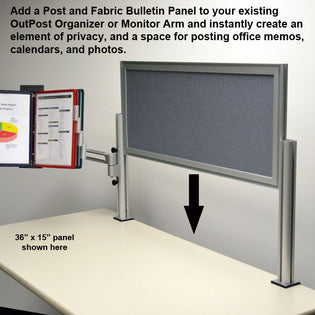 Outpost™ Gray Fabric Bulletin Board Panels with 1 Post
