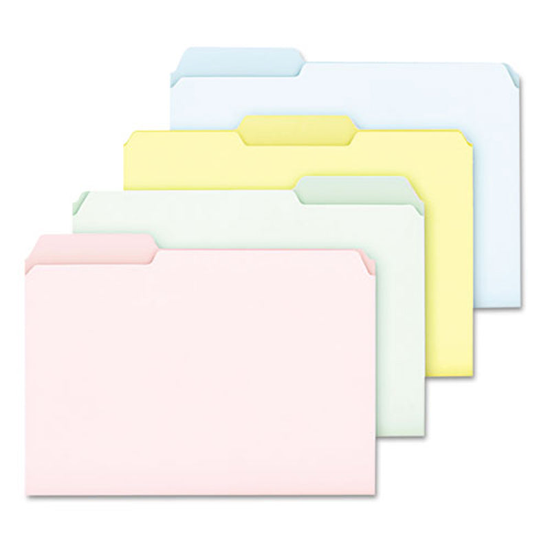 Pastel Colored File Folders, 3rd-Cut, Letter, Assorted (Blue, Green, Pink, Yellow)(box of 100)