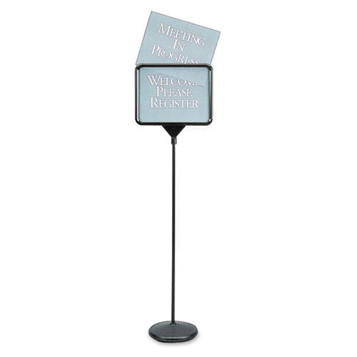 Pedestal Sign Holder w/ 12 Pre-Printed Signs, Black