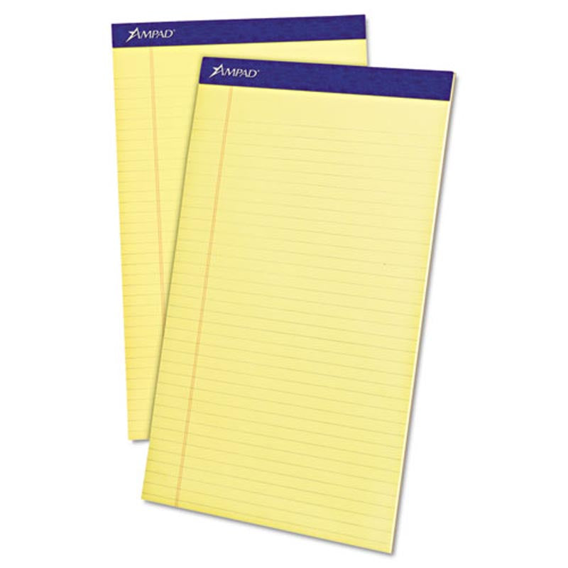 Perforated Writing Pads, Wide Rule, Legal Size, 16# Paper (12-pack, 50 sheet pads)