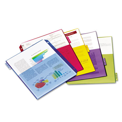 Poly 2-Pocket Index Dividers w/ 5 Tabs, Letter, Assorted (set of 4)