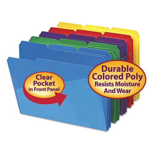 Poly Colored Top Tab File Folders w/Slash Pocket, 3rd-Cut, Letter (box of 30), Assorted