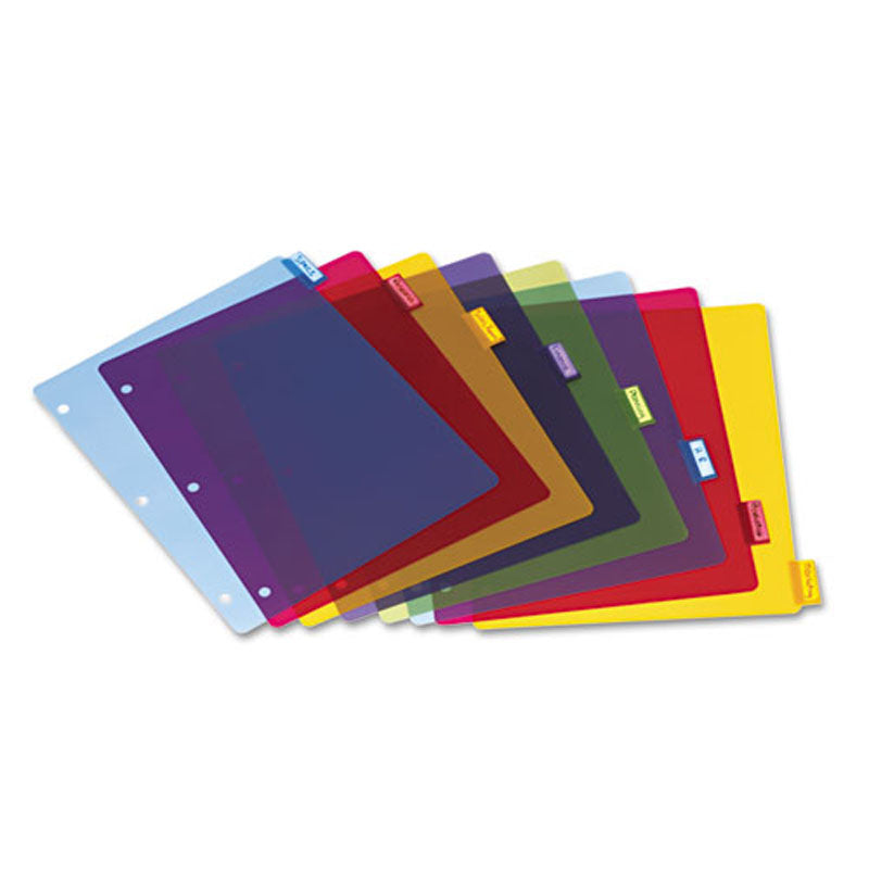 Poly Index Dividers w/ 8 Tabs, Letter, Assorted (set of 4)