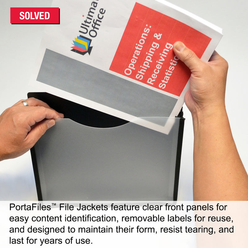 "Ultimate Office PortaFile™ 1"" Expanding File Jackets, Letter Size with Silicone Gussets, Sewn Nylon Edges, Color-Coded Rings and Adhesive Labels (Set of 2)"