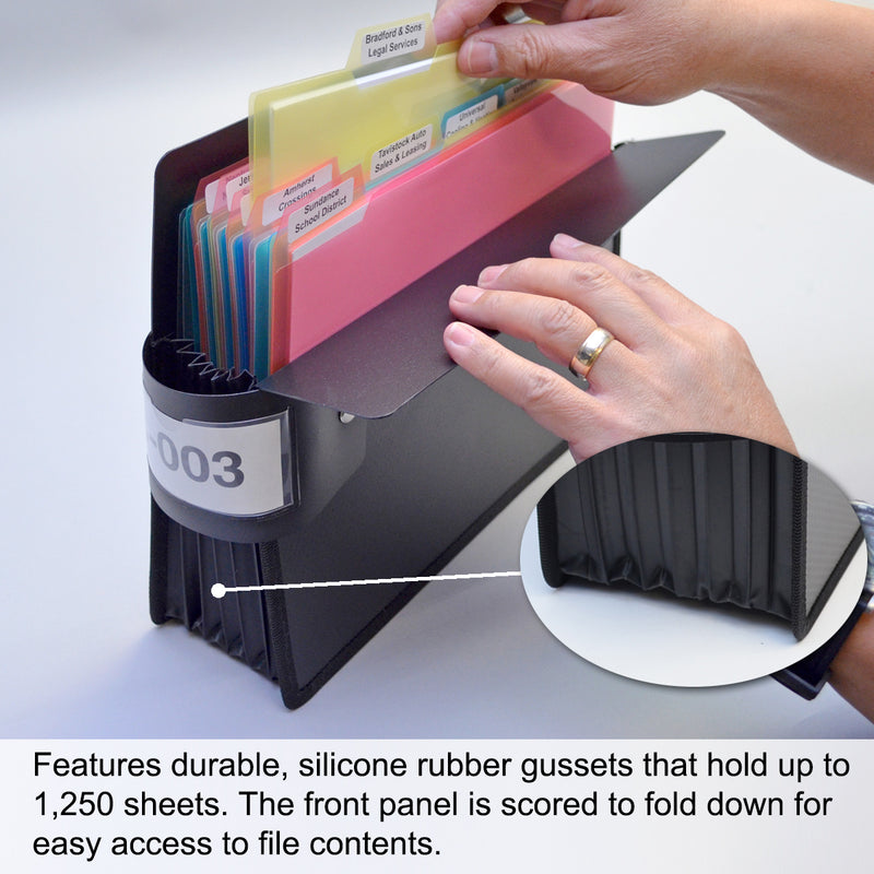 "Ultimate Office PortaFile™ Expanding File Pockets, Straight-Cut Legal Size, Expand up to 5 1/4"", Heavy-Duty Poly with Silicone Gussets, Sewn Edges, and Color Labels and Rings (set of 2)"