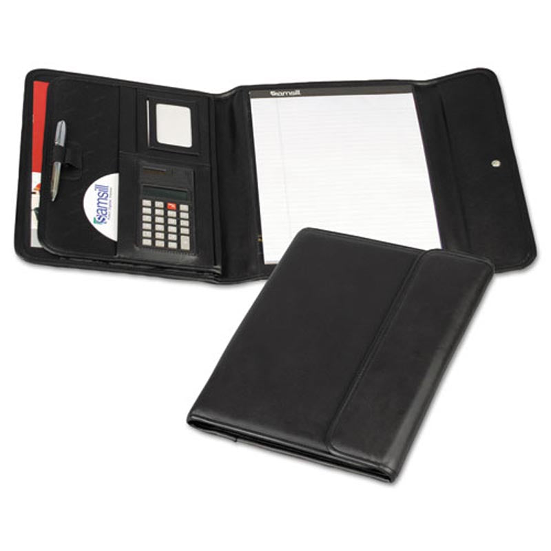Professional Tri-Fold Padfolio with Calculator, Black Faux Leather
