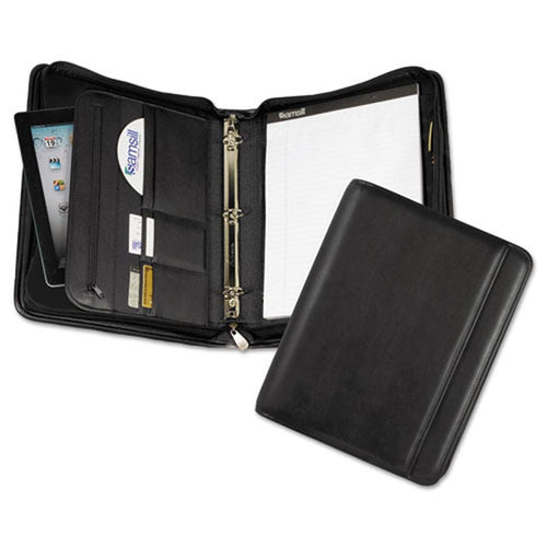 Professional Zip Pad Holder/Ring Binder, Black Faux Leather