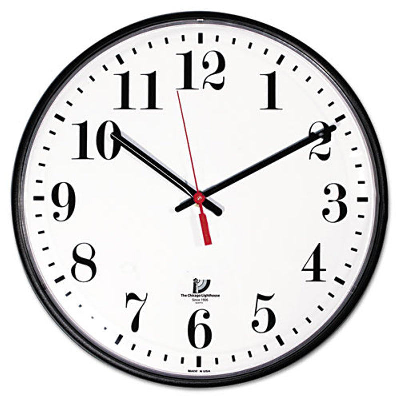 Quartz Slimline Wall Clock, Black