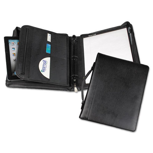 Regal Zip Binder Portfolio, Black Leather