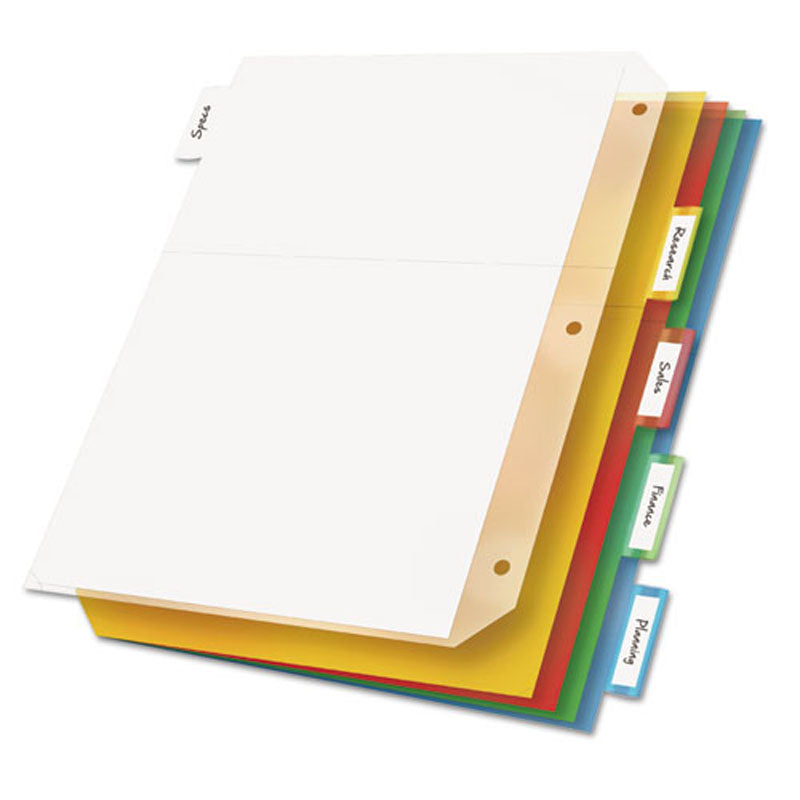"Ring Binder Divider Pockets w/ Index Tabs, 8 1/2"" x 11"", Assorted (set of 5)"