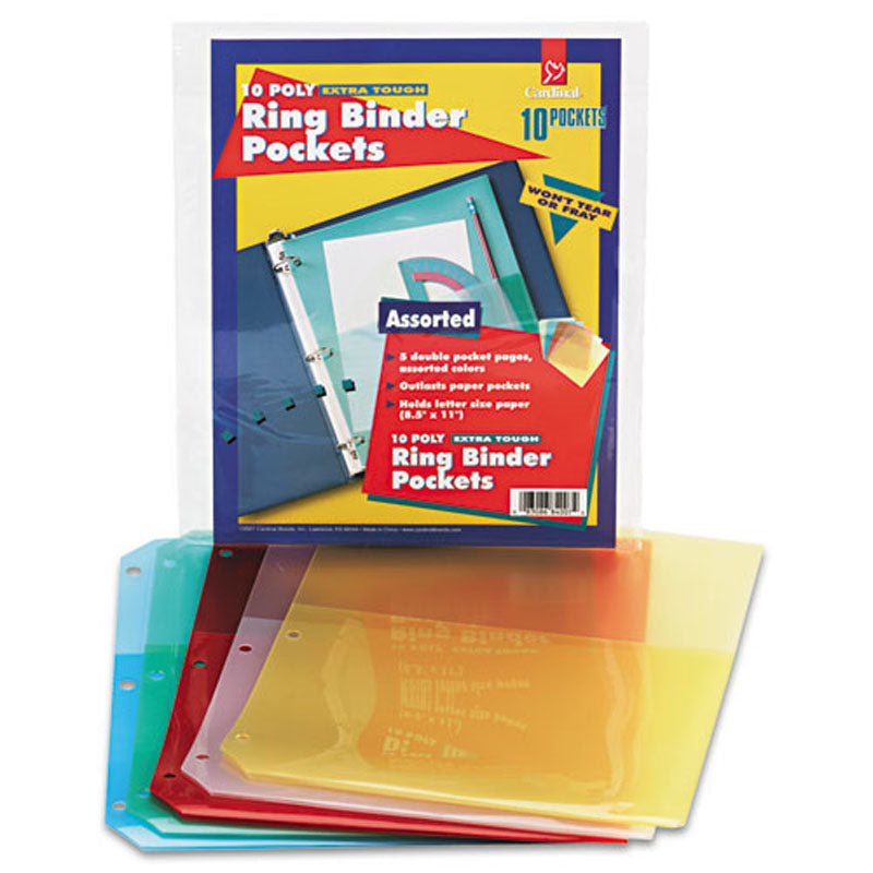 Translucent Ring Binder Poly Pockets, (5/ct)