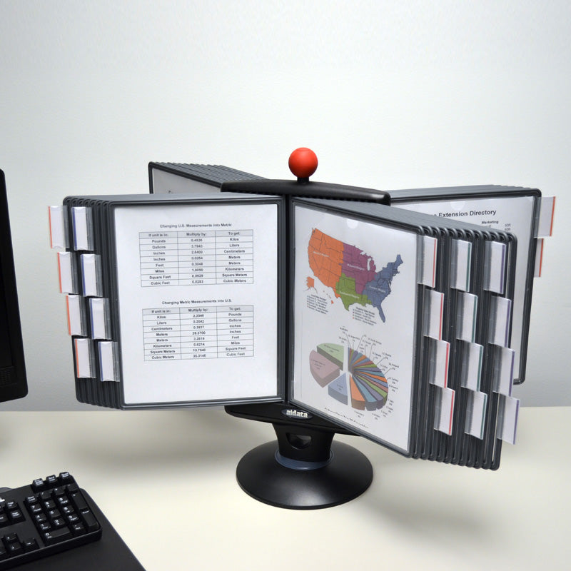 Rotating 40-Pocket Desktop Reference Organizer