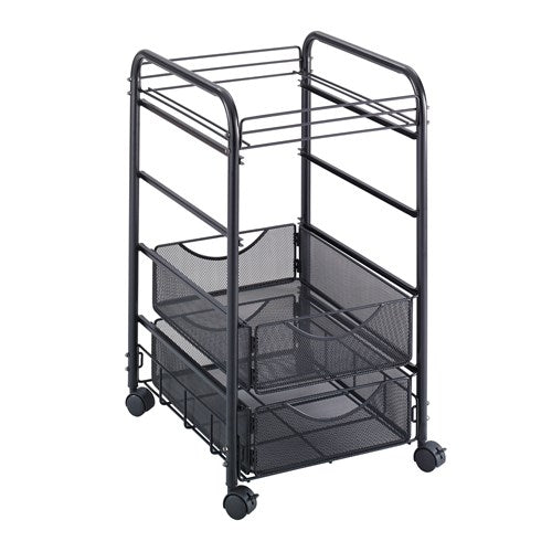 "Deskside Mobile Hanging File Cart w/two Storage Drawers, 15 3/4""w x 27""h x 17""d, Black"