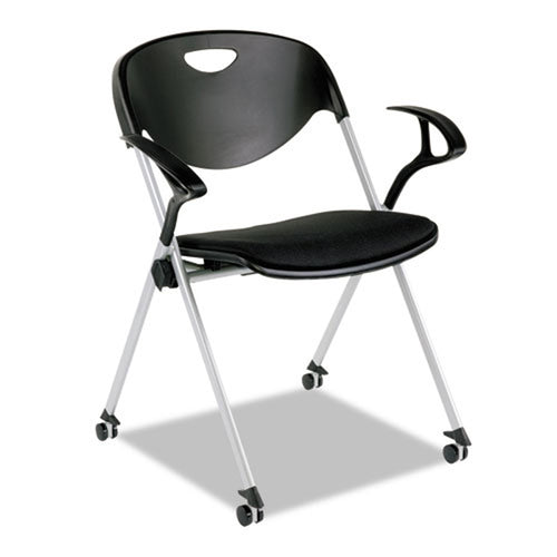 SL Nesting Stack Chair with Arms, Silver w/Black (set of 2 chairs)