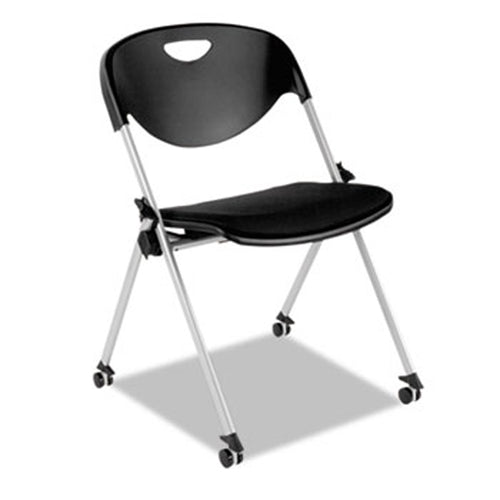 SL Nesting Stack Chair without Arms, Silver w/Black (set of 2 chairs)