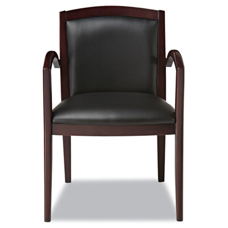 Solid Wood Guest Chair, Mahogany w/Black Leather