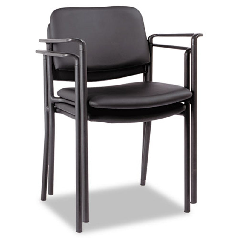 Sorrento Stacking Guest Chair, Black w/Faux Leather
