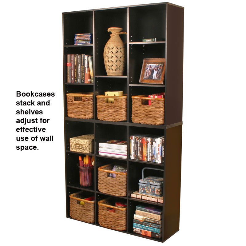 Stackable Bookcases with Adjustable Shelves