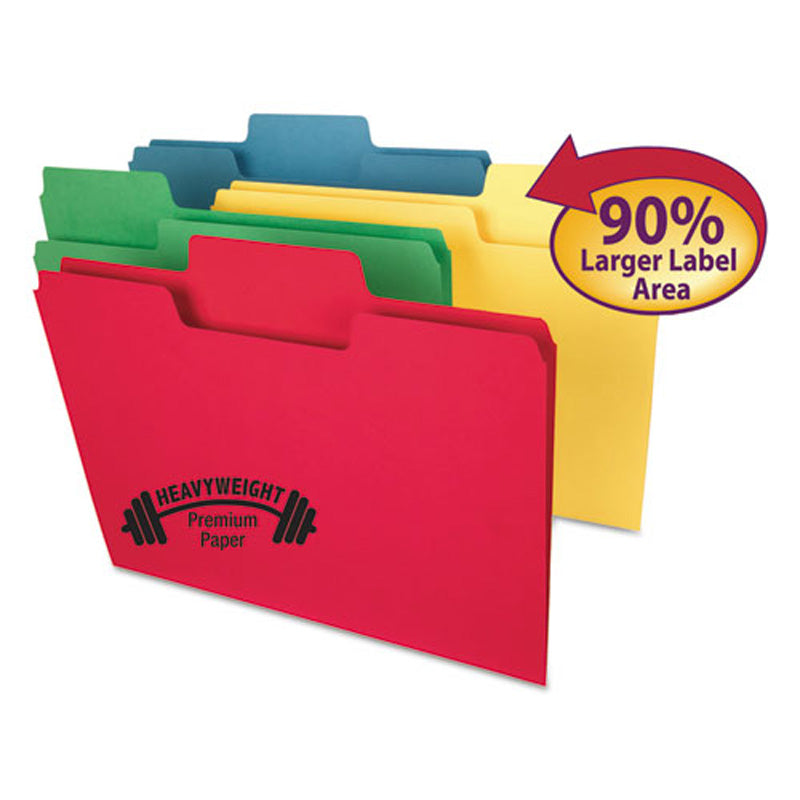 Supertab Heavyweight Folders with X-tra Large Label Area, 3rd-Cut, Assorted (box of 50)