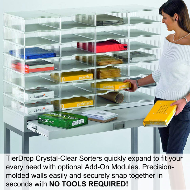 Ultimate Office TierDrop™ Desktop Organizer Document, Forms, Mail, and Classroom Sorter. 4 Extra Large, (1w x 4h), Crystal Clear Compartments with Optional Add-On Tiers for Easy Expansion - Lifetime Guarantee!