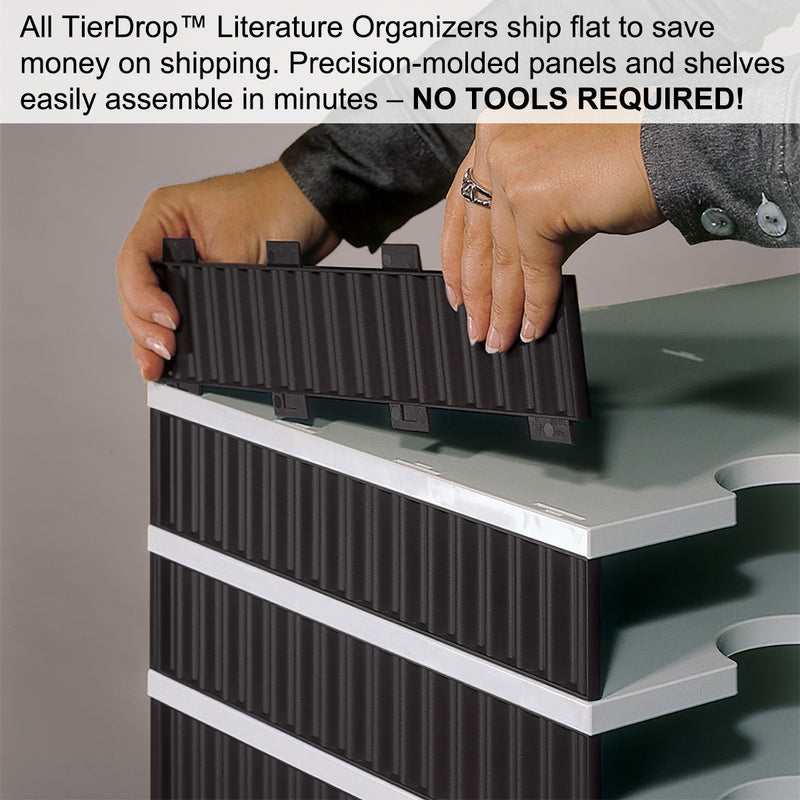 Ultimate Office TierDrop Desktop Organizer/Forms Sorter, 4-Compartment High-Wall with Optional Add-On Tiers for Easy Expansion