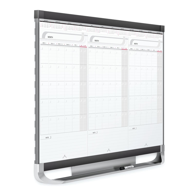 "Total Erase Sliding 3-Month Planner, 36"" x 24"" w/ Graphite Accents"