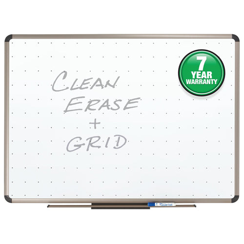 Total Erase Whiteboard w/ Alignment Grid, Aluminum Frame