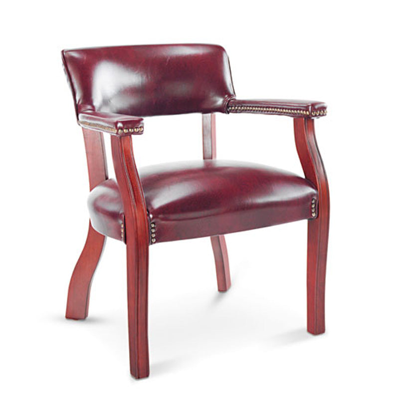 Traditional Guest Arm Chair, Mahogany w/Oxblood Vinyl