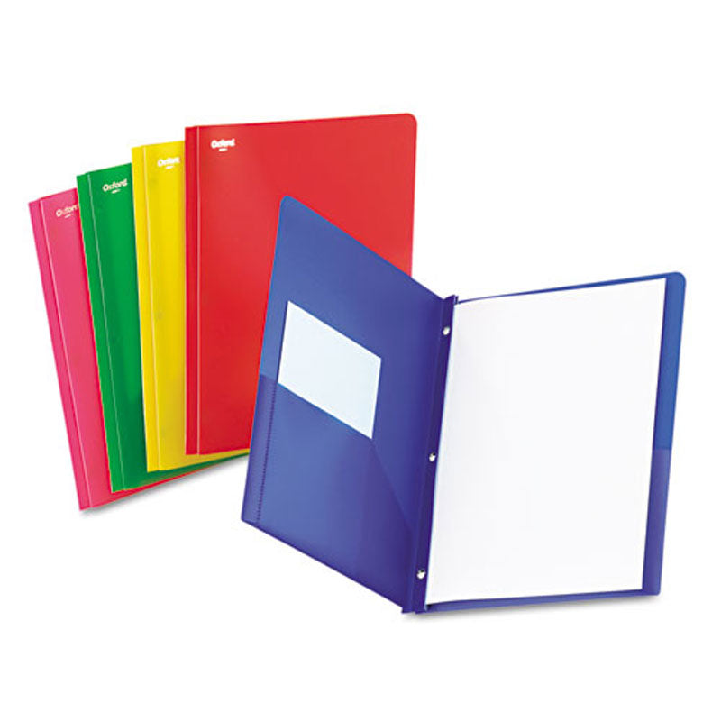 Translucent Twin Pocket Folders w/ Tang Fasteners, Box of 25, Assorted
