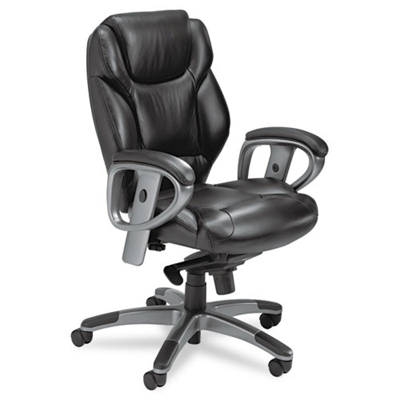 Ultimo Mid-Back Swivel/Tilt Chair, Pewter w/Black Leather