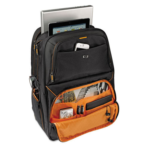 "Urban Backpack (Fits laptops up to 17 1/4""), Black w/ Orange Accents Polyester"